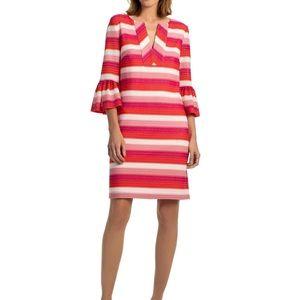 Trina Turk stripe knit bell sleeve shift dress